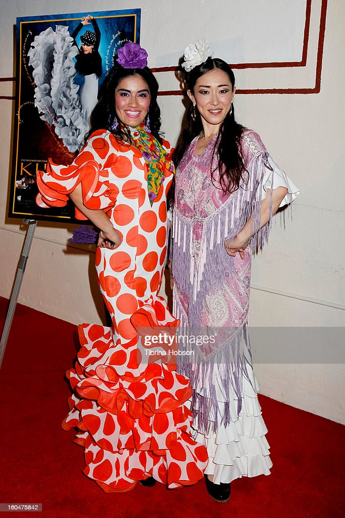 Flamenco dancers Paloma Rios (L) and Mizuho Sato (R) attend the 'Kumpania Flamenco' premiere at El Cid on January 31, 2013 in Los Angeles, California.