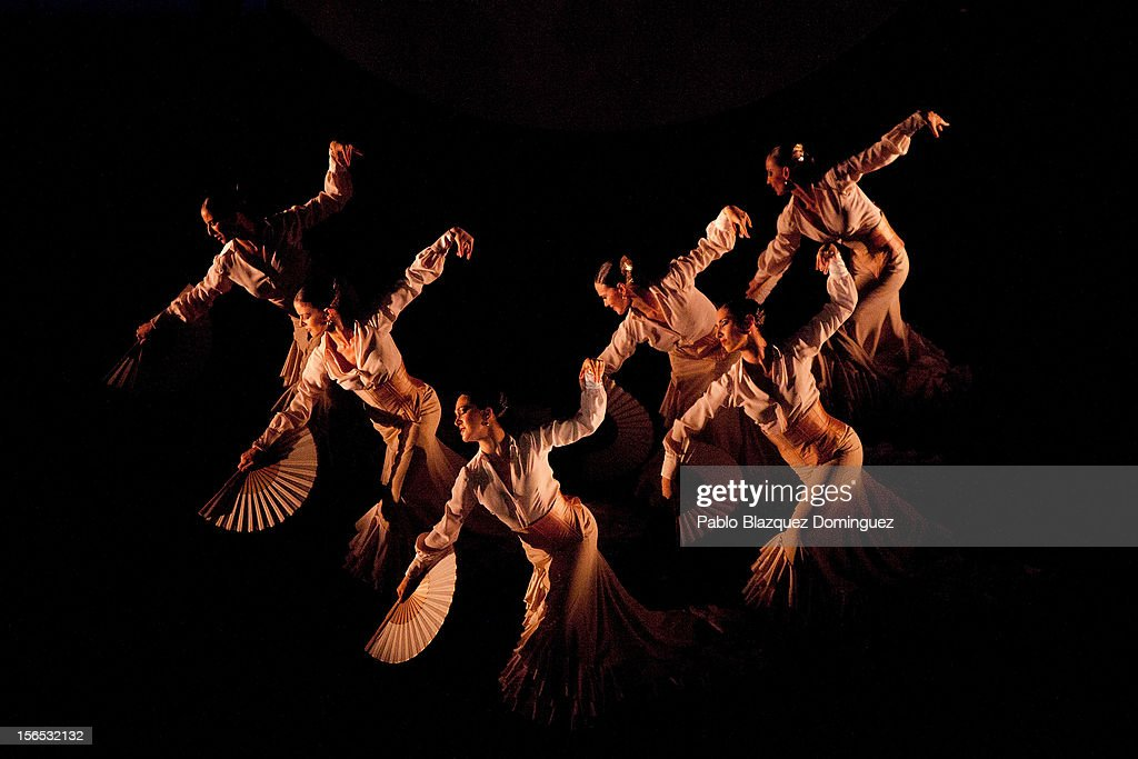 Flamenco dancers perform at the end of the opening ceremony of the the XXII Ibero-American Summit at Falla Theatre on November 16, 2012 in Cadiz, Spain. The 22nd Ibero-American Summit is Mariano Rajoy's first as President of Spain and will be attended by 16 Foreign Affairs ministers. The main issues of the meeting will be the economic crisis and how Latin American countries can contribute to the Eurozone recovery.
