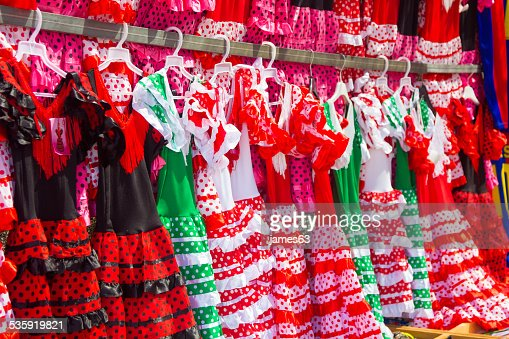 flamenco dresses in bright colors for little girls : Stock Photo