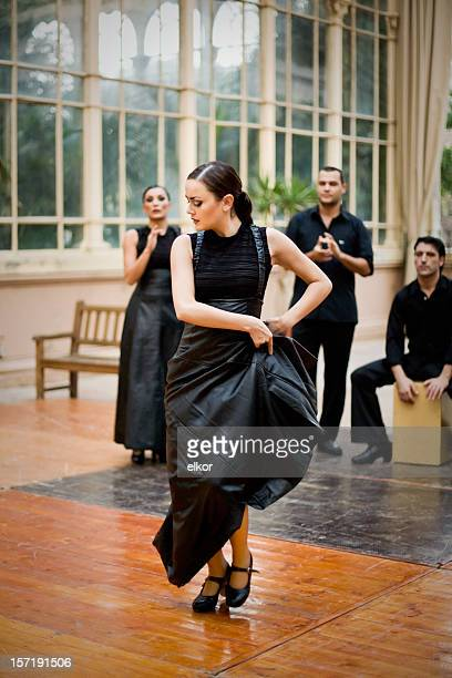 Flamenco female dancer performing with a group of singers.