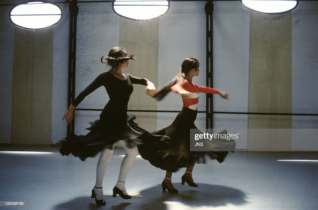 Flamenco in Seville Andalusia Spain in 1988 Two dancers flamenco dance academy Mario Maya