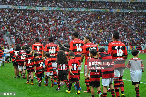 Flamengo players entering the National Stadium in Brasilia Mane Garrincha for the match between Flamengo and Vasco for Serie A Brazil 2013 and...