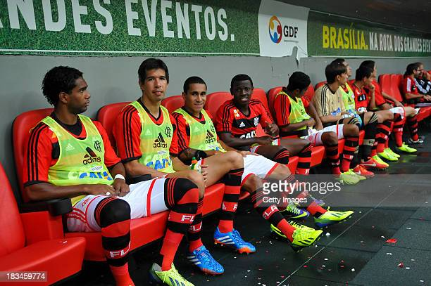 Flamengo players sit at National Stadium in Brasilia Mane Garrincha for the match between Flamengo and Vasco for Serie A Brazil 2013 and October 6 in...