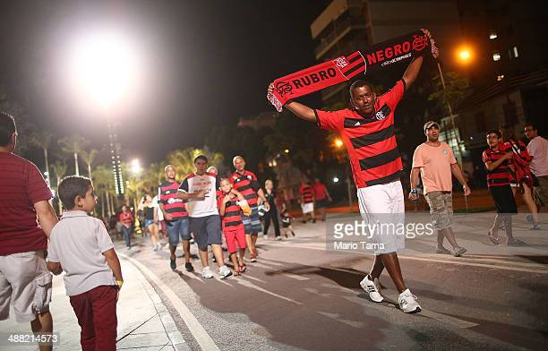 Flamengo supporter walks following a match between Flamengo and Palmeiras as part of Brasileirao Series A 2014 at Maracana Stadium on May 04 2014 in...