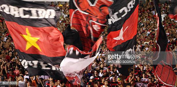 Flamengo supporters celebrate their victory over Nacional in the Libertadores Cup in Rio de Janeiro on March 19 2008 Flamengo won the match 20 AFP...