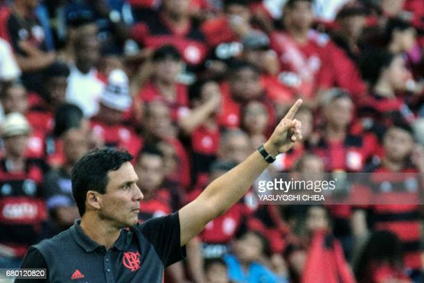 Flamengo's coach Ze Ricardo reacts during their Copa Carioca final football match against Fluminense at Maracana stadium in Rio de Janeiro Brazil on...