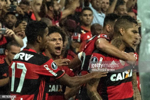 Flamengo's Guerrero celebrates with his teammates after his first goal against Atletico Paranaense during their 2017 Copa Libertadores football match...