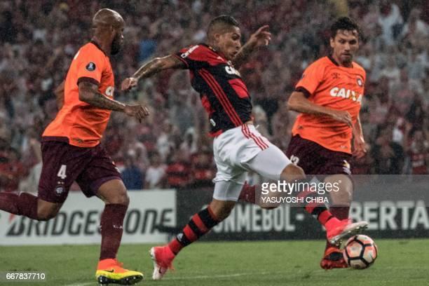 Flamengo's Guerrero drives the football against Atletico Paranaense for the Copa Libertadores at Maracana statidum in Rio de Janeiro Brazil on April...