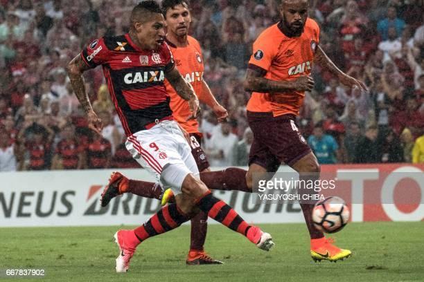 Flamengo's Guerrero kicks the ball against Atletico Paranaense during their 2017 Copa Libertadores football match at Maracana stadium in Rio de...