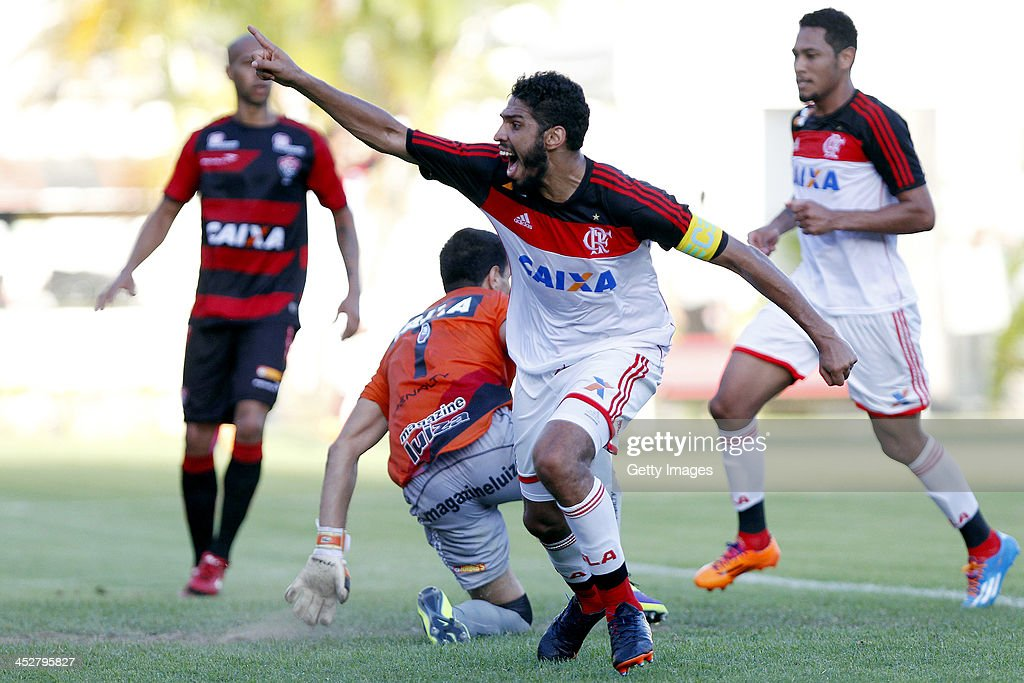 Flamengo's player Wallace celebrates after scoring a goal against Vitoria during the match between Flamengo and Vitoria for the Brazilian Series A...