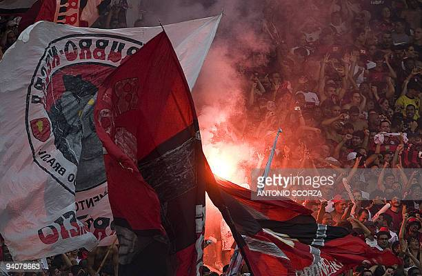 Flamengo's supporters celebrate the victory in the Brazilian Championship after winning by 21 in their final date match against Gremio at Maracana...