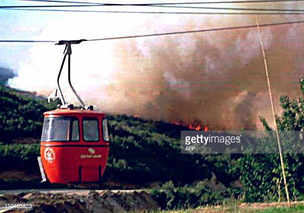 Flames from a raging forest fire appear a few hundred meters from a ski lift in the ski resort of Barilochein southern Argentina20 JanuaryThe...