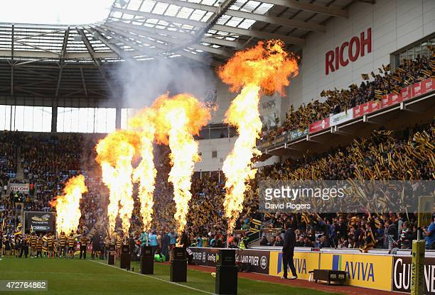 Flames in the pre match entertainment before the Aviva Premiership match between Wasps and Leicester Tigers at The Ricoh Arena on May 9 2015 in...