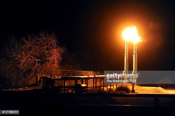 Flames light up the landscape at a fracking operation near Tilden Texas As oil prices dropped these past months many Texas drilling companies...