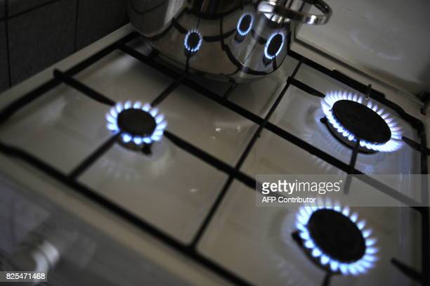 Flames of a gas stove reflect in a cooking pot on January 6 2009 at a kitchen in Berlin Germany's economy minister called on Ukraine and Russia to...