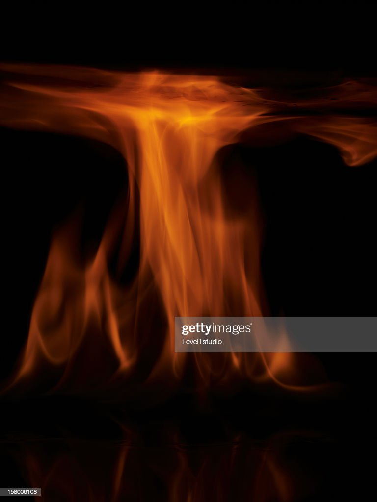 Flames on a black background : Stock Photo