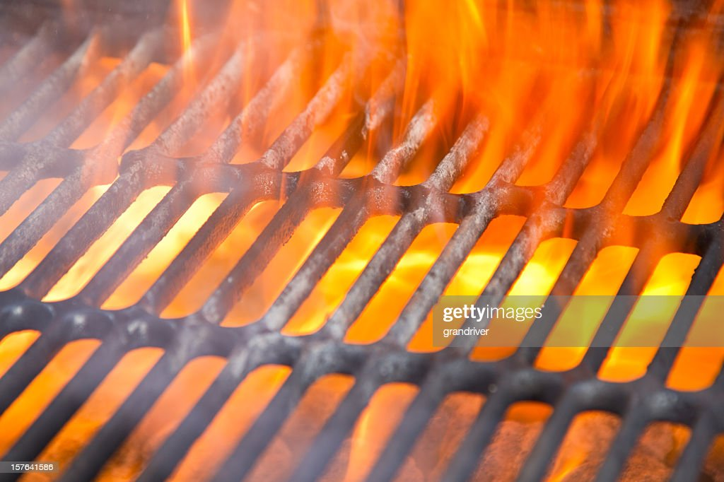 Flaming Barbecue Grill with no Food