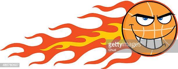 Flaming Basketball Mascot