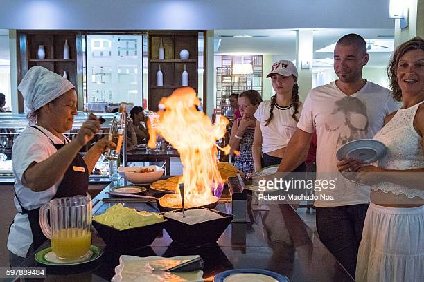 Flaming food crepes in Cuban resort Beach resorts in the Caribbean Island are the main destination of international tourists