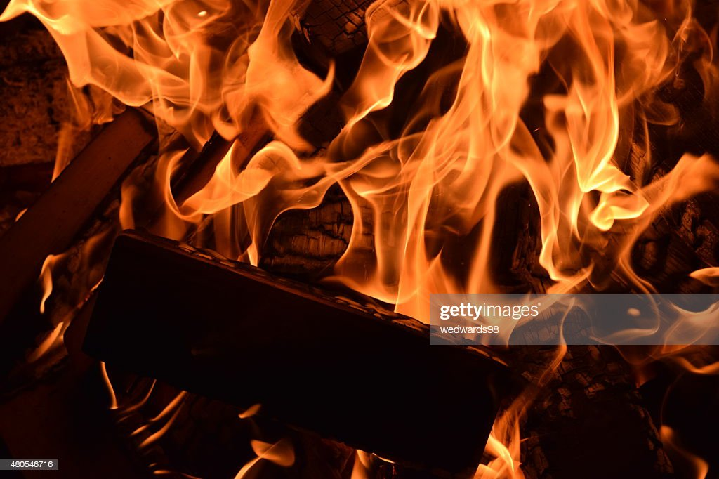 Flaming Log : Stock Photo