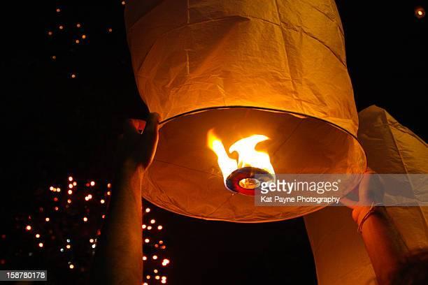 Flaming paper lantern