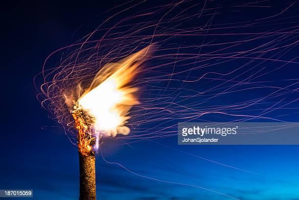 Flaming Torch at Night