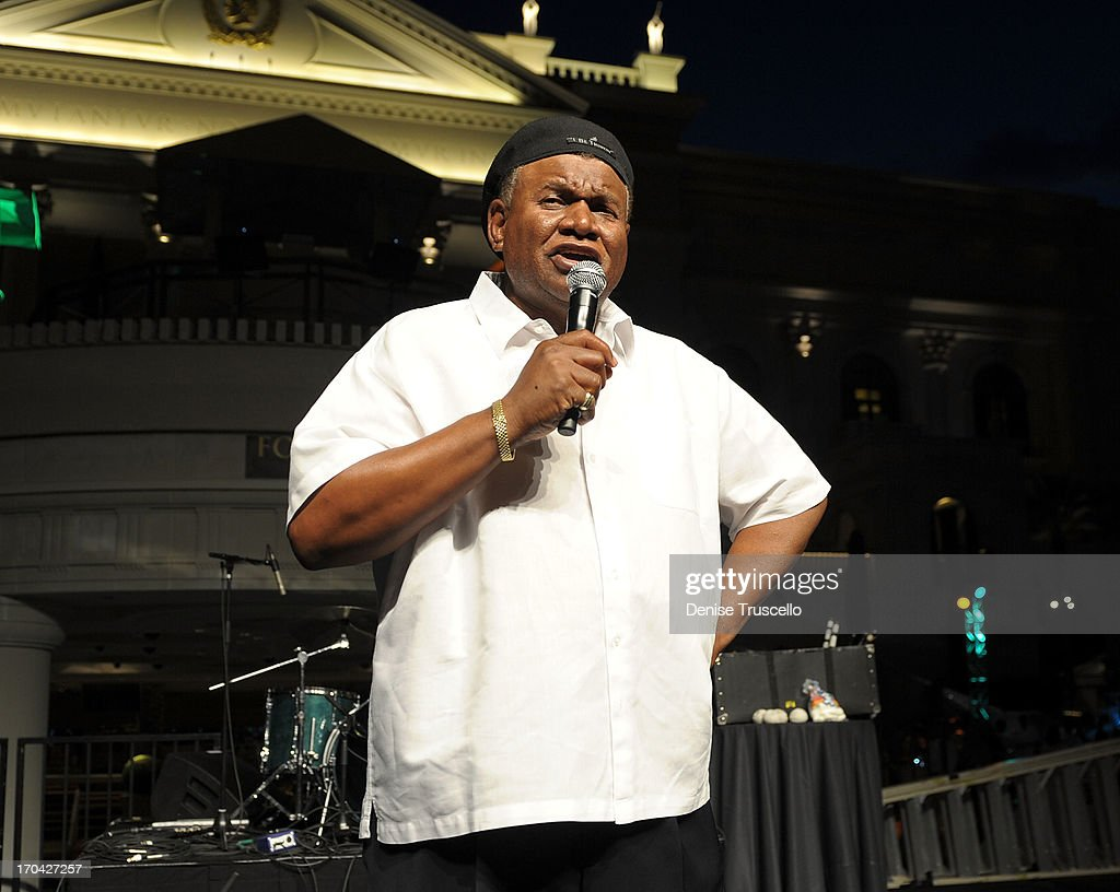 Flamingo Las Vegas headliner George Wallace performs at the closing night party for IPW 2013 at the Garden for the Gods pool at Caesars Palace on June 12, 2013 in Las Vegas, Nevada.