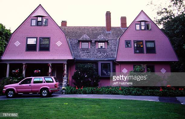 Flamingos dot the landscape of Jill Hunter's house at a party held in honor of the plastic pink flamingo in West Newton Massachusetts USA on June 13...