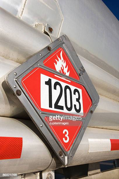 Flammable sign on fuel truck