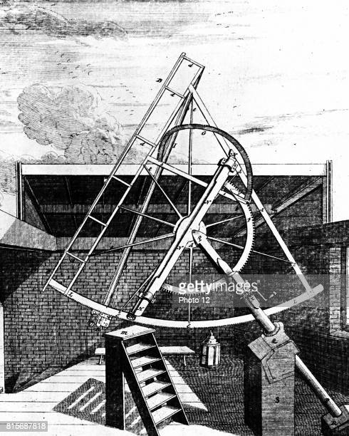Flamsteed's equatorially mounted sextant fitted with telescope Side showing gearing for aligning sextant Flamsteed was the first Astronomer Royal...