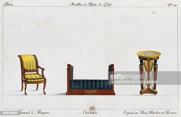 Flanged armchair loveseat and tripod table plate 211 illustration from Collection de meubles et objets de gout by PierreAntoine Leboux de La...