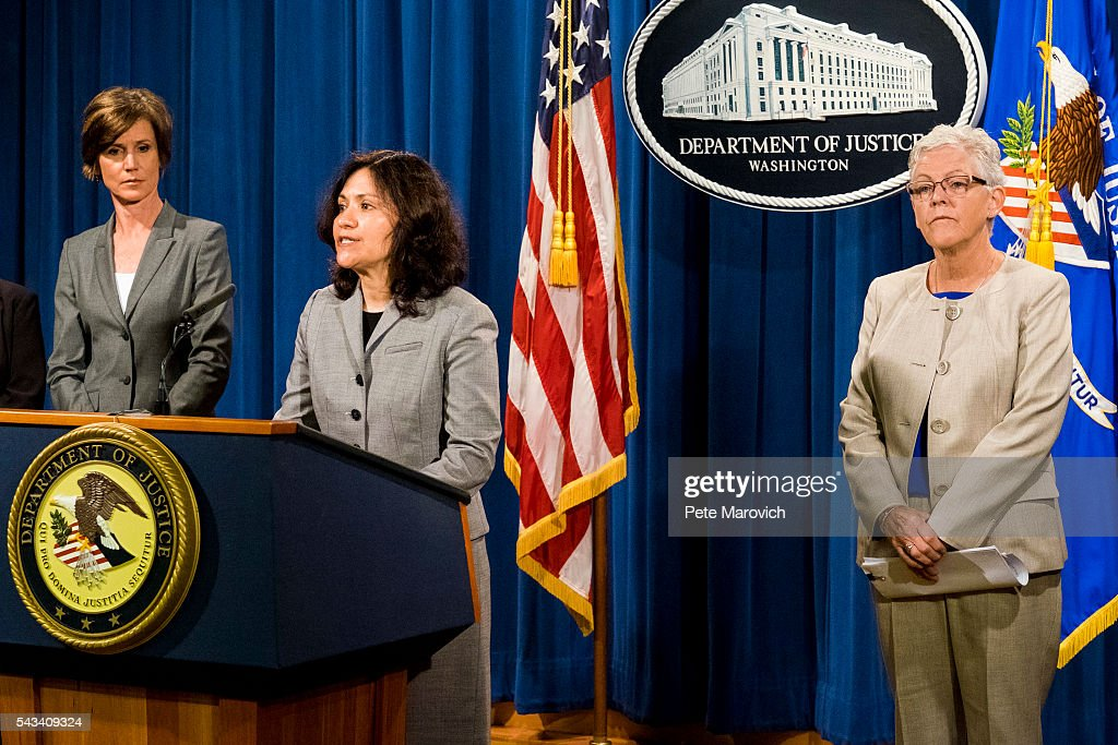 Flanked by Deputy Attorney General Sally Q. Yates and Environmental Protection Agency Administrator <a gi-track='captionPersonalityLinkClicked' href=/galleries/search?phrase=Gina+McCarthy&family=editorial&specificpeople=7904226 ng-click='$event.stopPropagation()'>Gina McCarthy</a>, Federal Trade Commission Chairwoman Edith Ramirez (C) speaks during a press conference at the Department of Justice on June 28, 2016 in Washington, DC. Volkswagen has agreed to nearly $15 billion in a settlement over emissions cheating on its diesel vehicles.