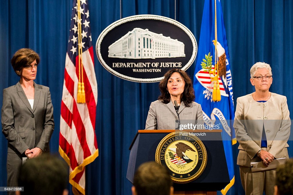Flanked by Deputy Attorney General Sally Q. Yates and Environmental Protection Agency Administrator Gina McCarthy, Federal Trade Commission Chairwoman Edith Ramirez speaks during a press conference at the Department of Justice on June 28, 2016 in Washington, DC. Volkswagen has agreed to nearly $15 billion in a settlement over emissions cheating on its diesel vehicles.