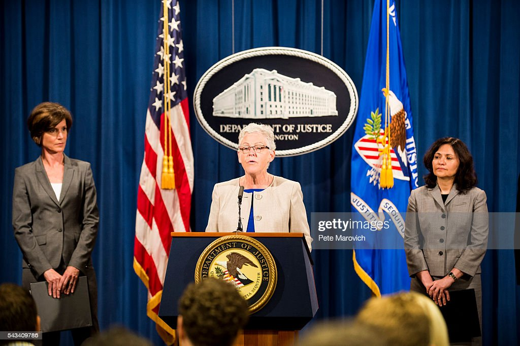 Flanked by Deputy Attorney General Sally Q. Yates (L) and Federal Trade Commission Chairwoman Edith Ramirez (R), Environmental Protection Agency Administrator <a gi-track='captionPersonalityLinkClicked' href=/galleries/search?phrase=Gina+McCarthy&family=editorial&specificpeople=7904226 ng-click='$event.stopPropagation()'>Gina McCarthy</a> speaks during a press conference at the Department of Justice on June 28, 2016 in Washington, DC. Volkswagen has agreed to nearly $15 billion in a settlement over emissions cheating on its diesel vehicles.