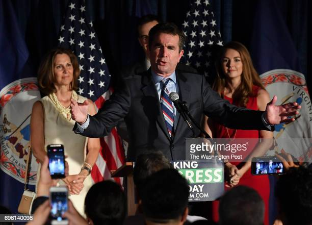Flanked by family members Virginia Democratic candidate for Governor Lt Governor Ralph Northam speaks to his supporters during a primary night party...