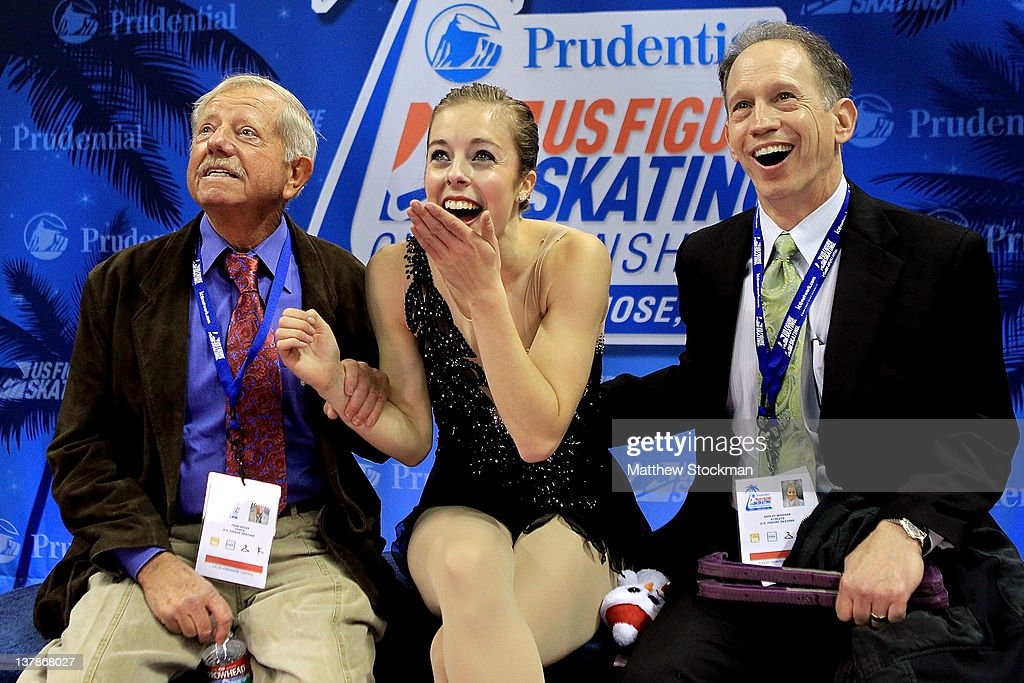 Flanked by her coaches John Nicks and Phillip Mills, <a gi-track='captionPersonalityLinkClicked' href=/galleries/search?phrase=Ashley+Wagner&family=editorial&specificpeople=2564533 ng-click='$event.stopPropagation()'>Ashley Wagner</a> celebrates in the Kiss and Cry after competing in the Ladies Free Skate during the 2012 Prudential U.S. Figure Skating Championships at the HP Pavilion on January 28, 2012 in San Jose, California.