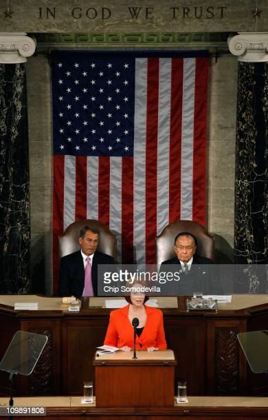 Flanked by Speaker of the House John Boehner and Senate President Pro Tempe Daniel Inouye Australian Prime Minister Julia Gillard addresses a joint...