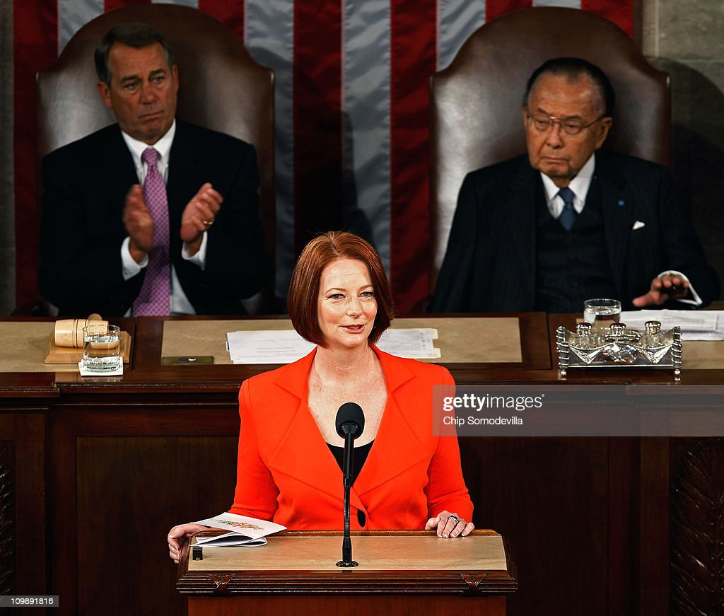 Flanked by Speaker of the House John Boehner (R-OH) (L) and Senate President Pro Tempe Daniel Inouye (D-HI), Australian Prime Minister <a gi-track='captionPersonalityLinkClicked' href=/galleries/search?phrase=Julia+Gillard&family=editorial&specificpeople=787281 ng-click='$event.stopPropagation()'>Julia Gillard</a> addresses a joint meeting of the U.S. Congress from the floor of the House of Representatives at the U.S. Capitol March 9, 2011 in Washington, DC. Gillard emphasized the long and strong bond between her country and the United States.