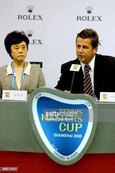 Flanked by Sun Jinfang CEO of ATP International Brad Drewett addresses the media at a press conference to announce Rolex as the presenting sponsor of...