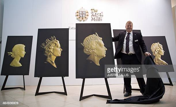 Flanked by the four previous definitive coin portraits Chief Executive of The Royal Mint Adam Lawrence unveils the new coin portrait of Britain's...