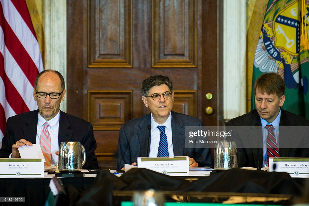 Flanked by U.S. Department of Labor Secretary, Thomas Perez (L) and Director of the Consumer Financial Protection Bureau, <a gi-track='captionPersonalityLinkClicked' href=/galleries/search?phrase=Richard+Cordray&family=editorial&specificpeople=7979683 ng-click='$event.stopPropagation()'>Richard Cordray</a>, Treasury Secretary Jacob J. Lew delivers remarks during a public meeting of the Financial Literacy and Education Commission at the United States Treasury on June 29, 2016 in Washington, DC. The agenda focused on financial education and investment advice, as well as the intersection of financial education and legal aid.