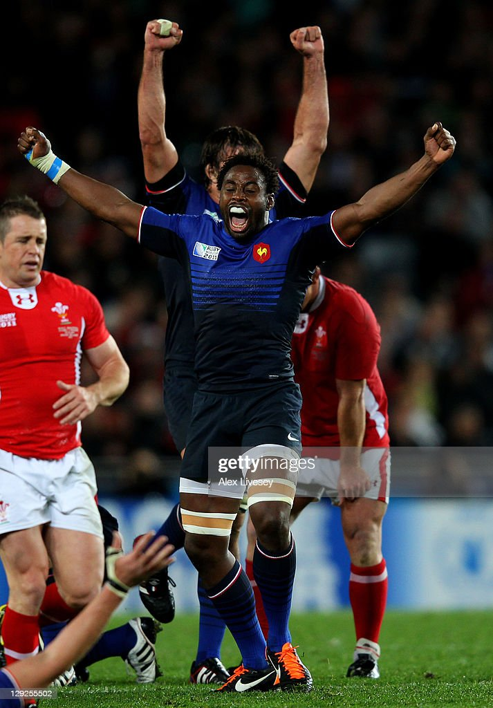 Flanker Fulgence Quedraogo of France celebrates his team's 9-8 victory as the final whistle blows during semi final one of the 2011 IRB Rugby World Cup between Wales and France at Eden Park on October 15, 2011 in Auckland, New Zealand.