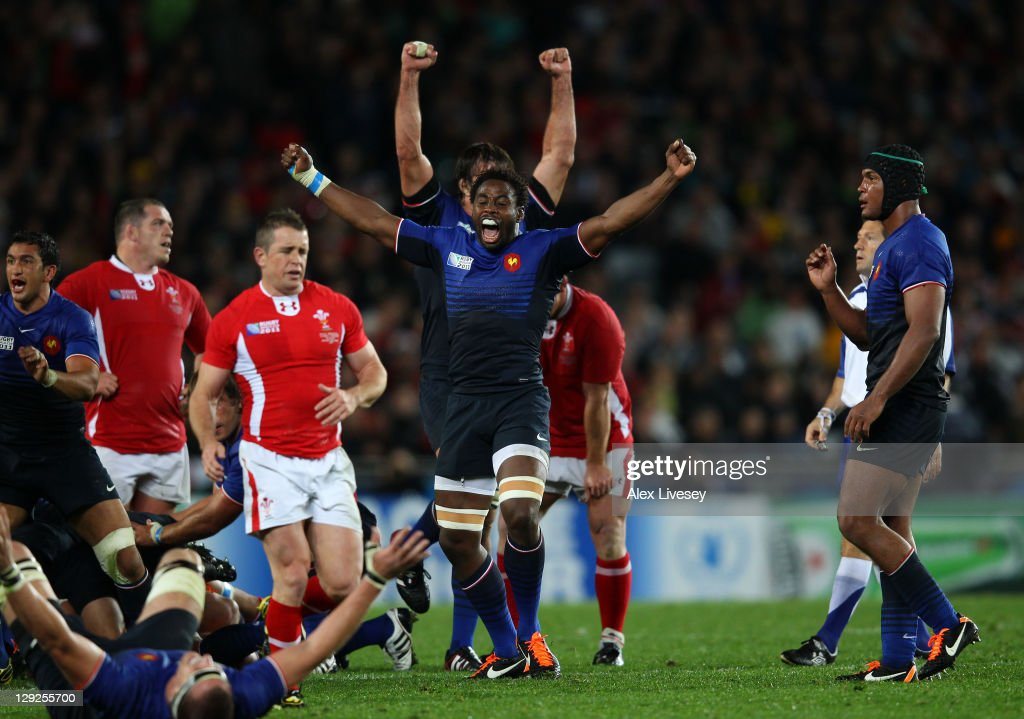 Flanker Fulgence Quedraogo of France celebrates his team's 98 victory as the final whistle blows during semi final one of the 2011 IRB Rugby World...