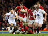 Flanker Sam Warburton of Wales makes a break during the RBS Six Nations match between Wales and England at Millennium Stadium on March 16 2013 in...