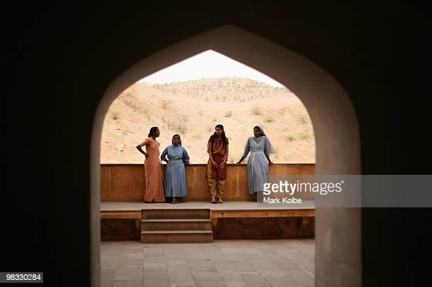 A flap of nuns rest as they visit Amber Fort on April 8 2010 in Jaipur India