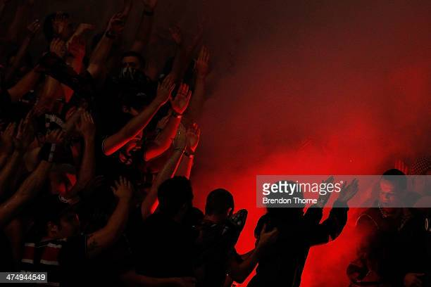 A flare is ignited amongst the Wanderers fans during the AFC Asian Champions League match between the Western Sydney Wanderers and Ulsan Hyundai at...