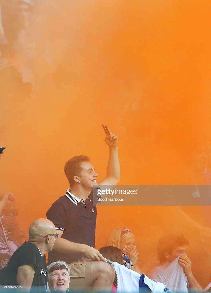 A flare is ignited in the Melbourne Victory supporters area of the crowd during the round 19 A-League match between Melbourne City FC and Melbourne Victory at AAMI Park on February 13, 2016 in Melbourne, Australia.