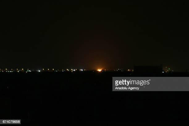 Flare is seen after Damascus war crafts belonging to Israeli army carried out airstrikes over Damascus International Airport in Damascus Syria on...