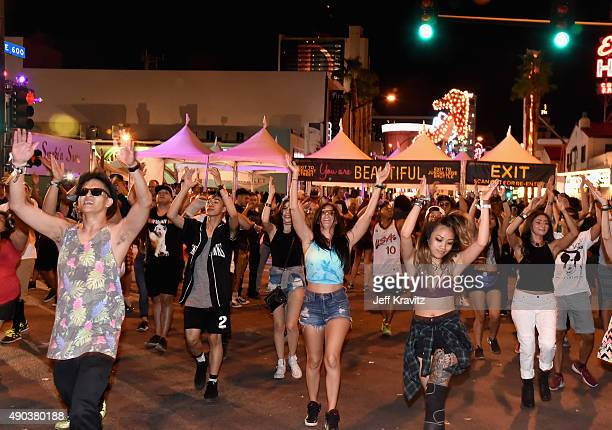 A flash mob during day 3 of the 2015 Life is Beautiful festival on September 27 2015 in Las Vegas Nevada