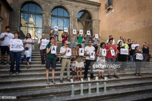 Flash Mob Earth Associations gather to defend the public good water and to ask the mayor of Rome Virginia Raggi administration to stop the closure...